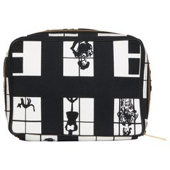 2002 Chanel Black & White Canvas 'Window Line' Toiletry Pouch