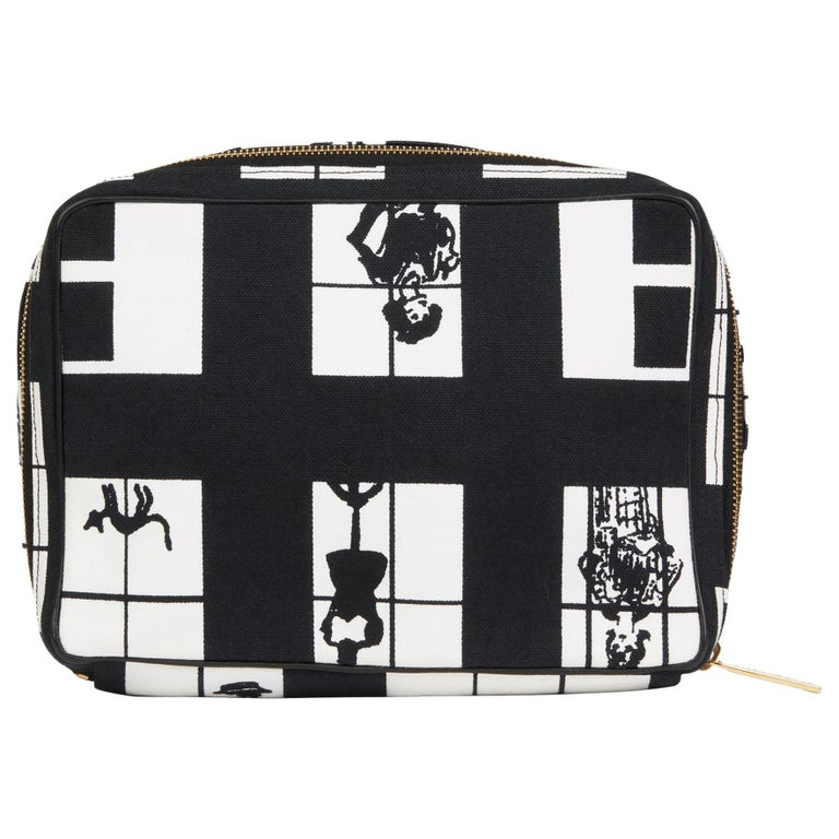 2002 Chanel Black & White Canvas 'Window Line' Toiletry Pouch For Sale