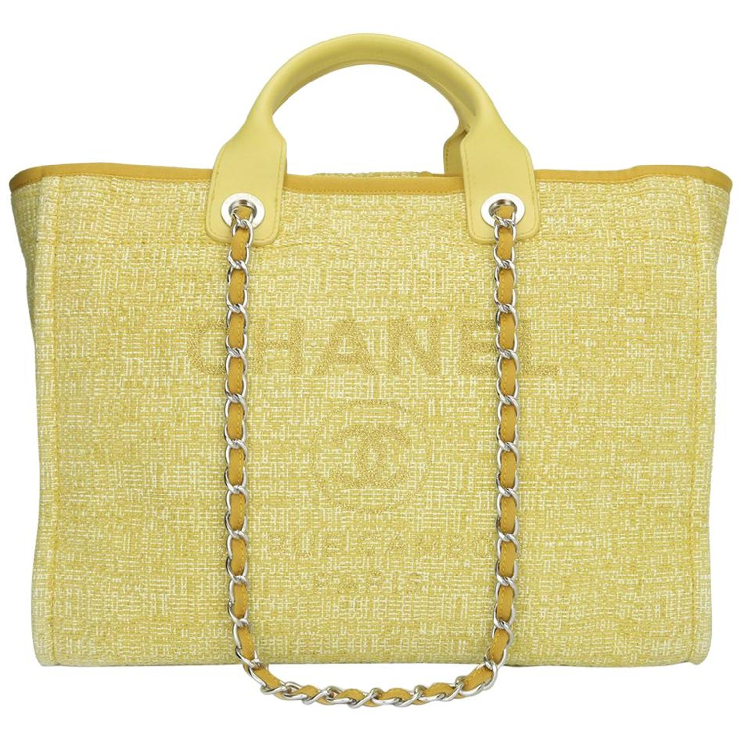 1c3eba01e4e5 CHANEL Deauville Tote Large Yellow Canvas with Light Gold Hardware 2018 at  1stdibs