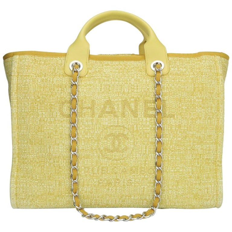 CHANEL Deauville Tote Large Yellow Canvas with Light Gold Hardware 2018 For Sale