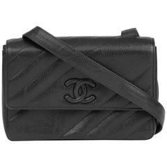 1994 Chanel Black Diagonal Quilted Caviar Leather Vintage Logo Shoulder Bag