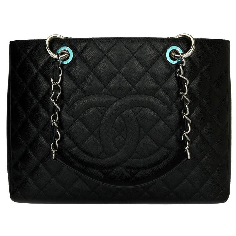 2a4d7aeb14c8 CHANEL Grand Shopping Tote (GST) Bag Black Caviar with Silver Hardware 2011  For Sale