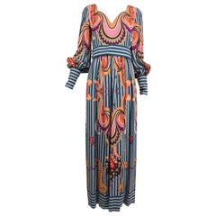 Ronald Amey Mod Print Silk Maxi Dress  1970s