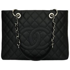 CHANEL Grand Shopping Tote (GST) Bag Black Caviar with Silver Hardware 2012