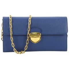 Prada Pushlock Wallet on Chain Saffiano Leather