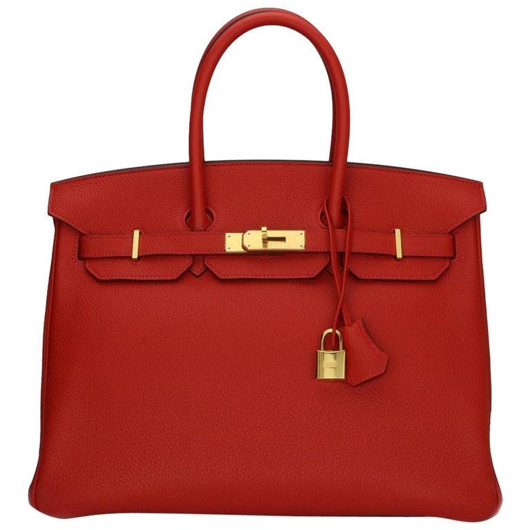 Hermès Birkin 35cm Bag Geranium Togo Leather with Gold Hardware Stamp P 2012 For Sale