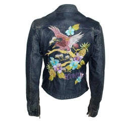 Dolce & Gabbana Hawaii Embroidered Leather Jacket 38