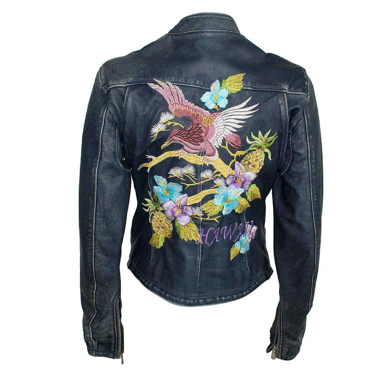fa29348433a Dolce and Gabbana Hawaii Embroidered Leather Jacket 38 For Sale at ...