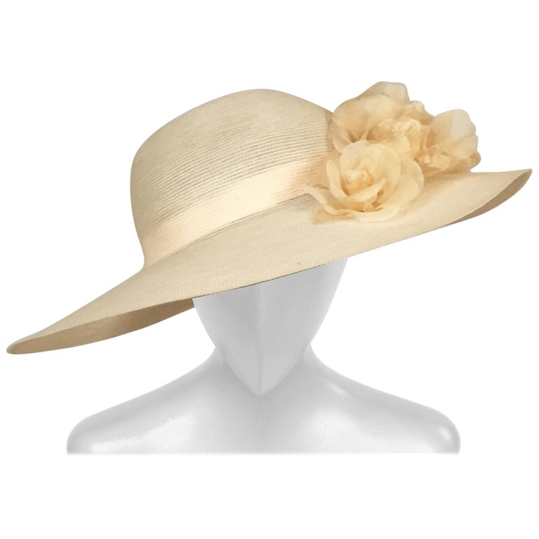 Patricia Underwood Silk Flower Trimmed Wide Brim Hat For Sale