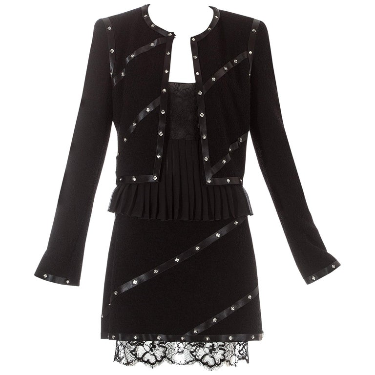 Chanel by Karl Lagerfeld black studded 3 piece skirt suit, A/W 2003 For Sale