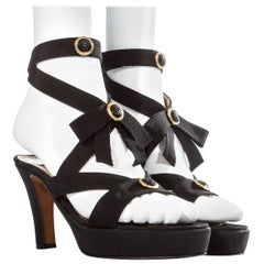 Gianni Versace black and gold Medusa silk platform sandals, S/S 1993