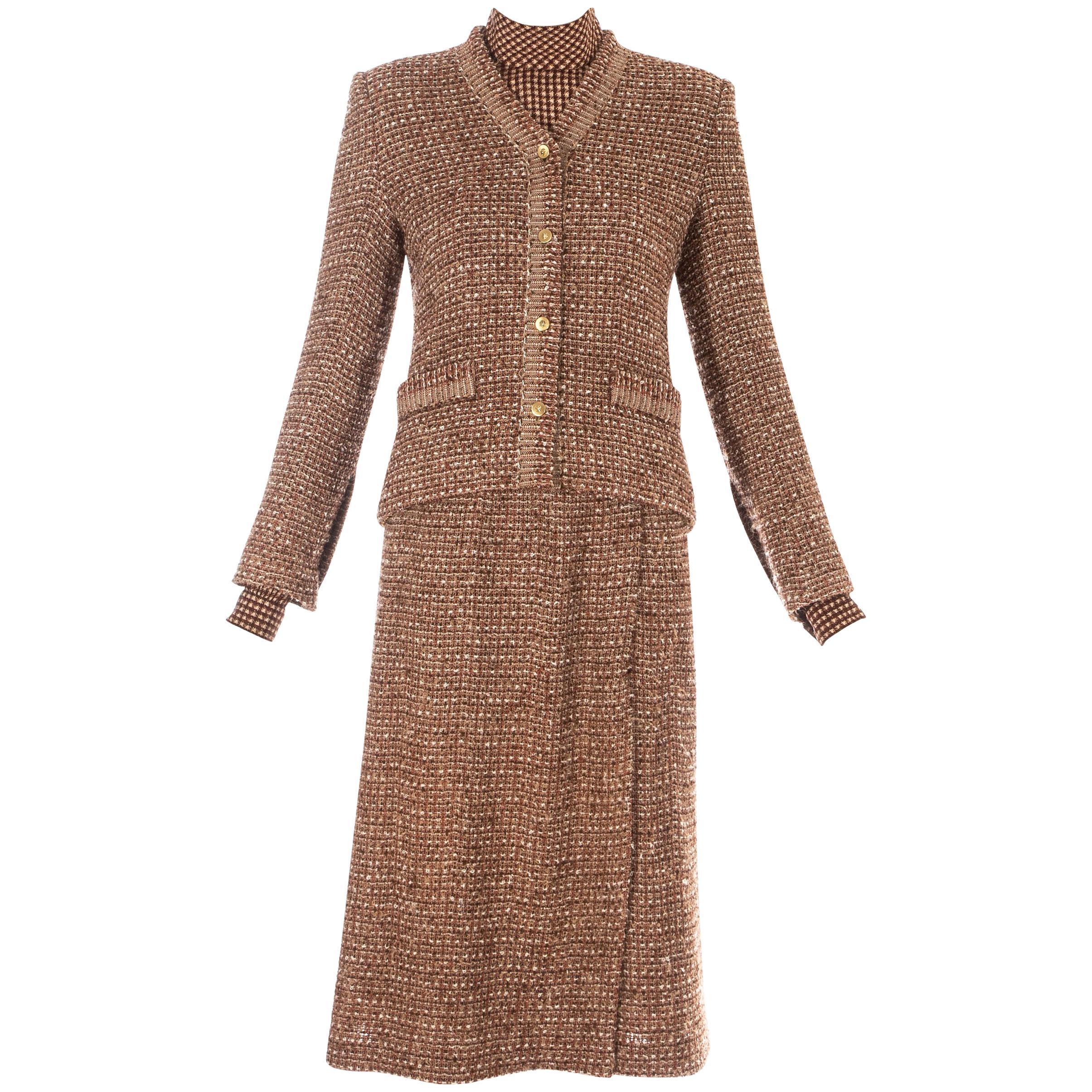 Chanel brown wool tweed 3 piece skirt suit, c. 1970s
