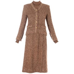 Chanel brown wool tweed 3 piece skirt suit, c. 1970s