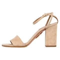 Aquazzura Taupe Suede Sandals Sz 35.5