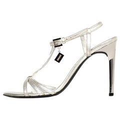 Versace Silver Metallic Leather Strappy Sandals Sz 35.5