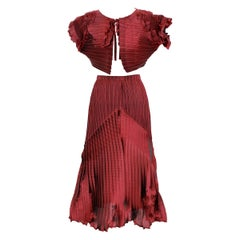 1990s Issey Miyake Red Purple Pleated Set Dress Maxi Skirt Suit