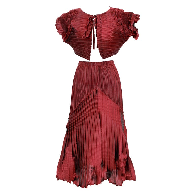 1990s Issey Miyake Red Purple Pleated Set Dress Maxi Skirt Suit For Sale