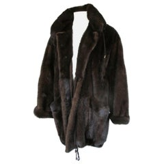 Brown Mink Fur Parka Coat
