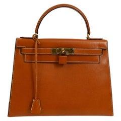 Hermes Kelly 28 Cognac Leather Gold Evening Top Handle Satchel Tote Bag