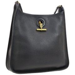 Hermes Black Leather Canvas Gold Toggle Carryall Shoulder Bag