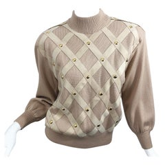 Vintage St John by Marie Gray Knit + Suede Leather Patchwork 1990s Sweater Top