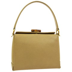 Gucci Tan Nude Leather Bamboo Top Handle Satchel Kelly Style Shoulder Bag