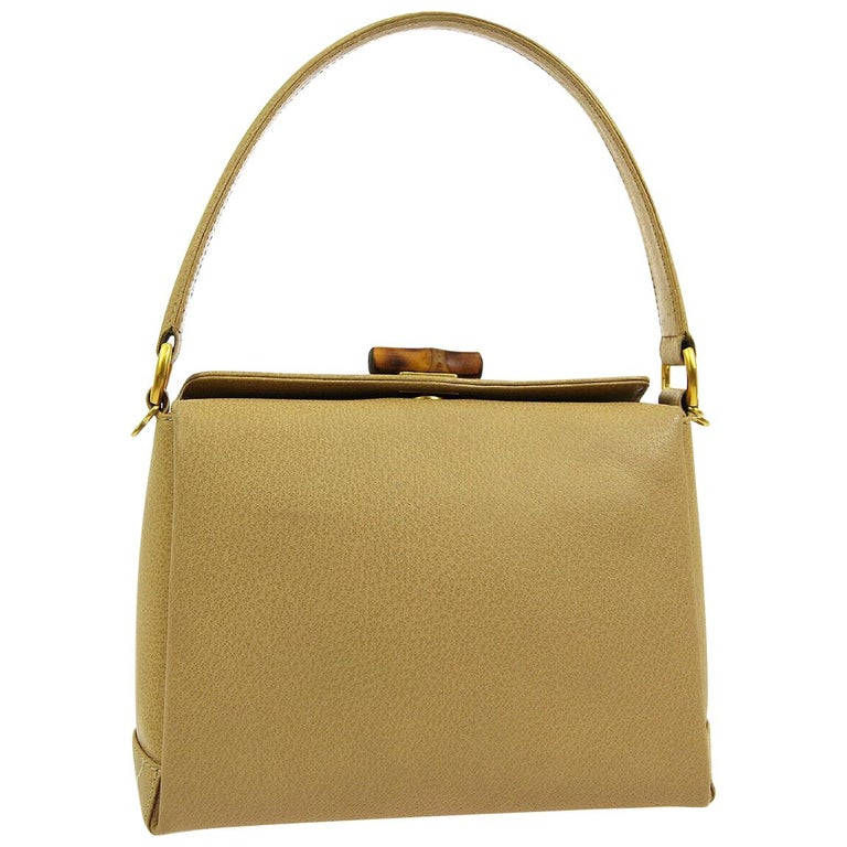59f37f2a6f3a Gucci Tan Nude Leather Bamboo Top Handle Satchel Kelly Style Shoulder Bag  For Sale