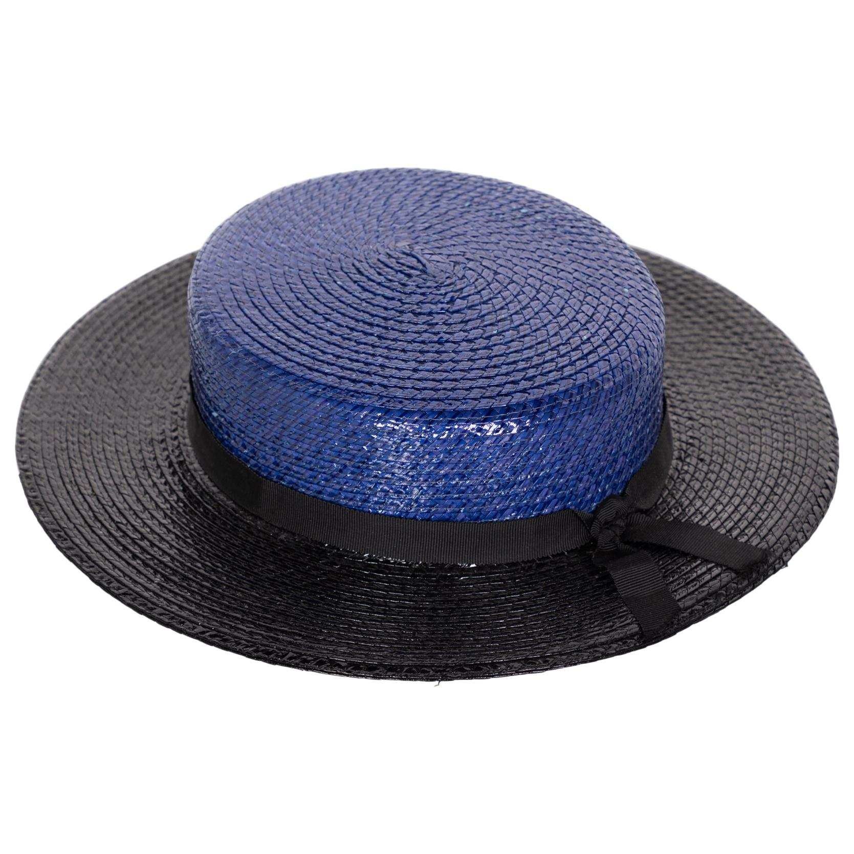 Yves Saint Laurent YSL Vintage Glossy Blue and Black Straw Hat, 1990s