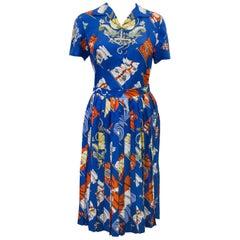 1970s Royal Blue Hermes Pavois Silk Scarf Skirt Ensemble