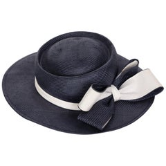 Oscar de la Renta Navy White Bow Straw Hat