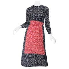 1970s Joseph Brennan Trompe L'Oeil Red, White and BLue Rhinestone 70s Midi Dress