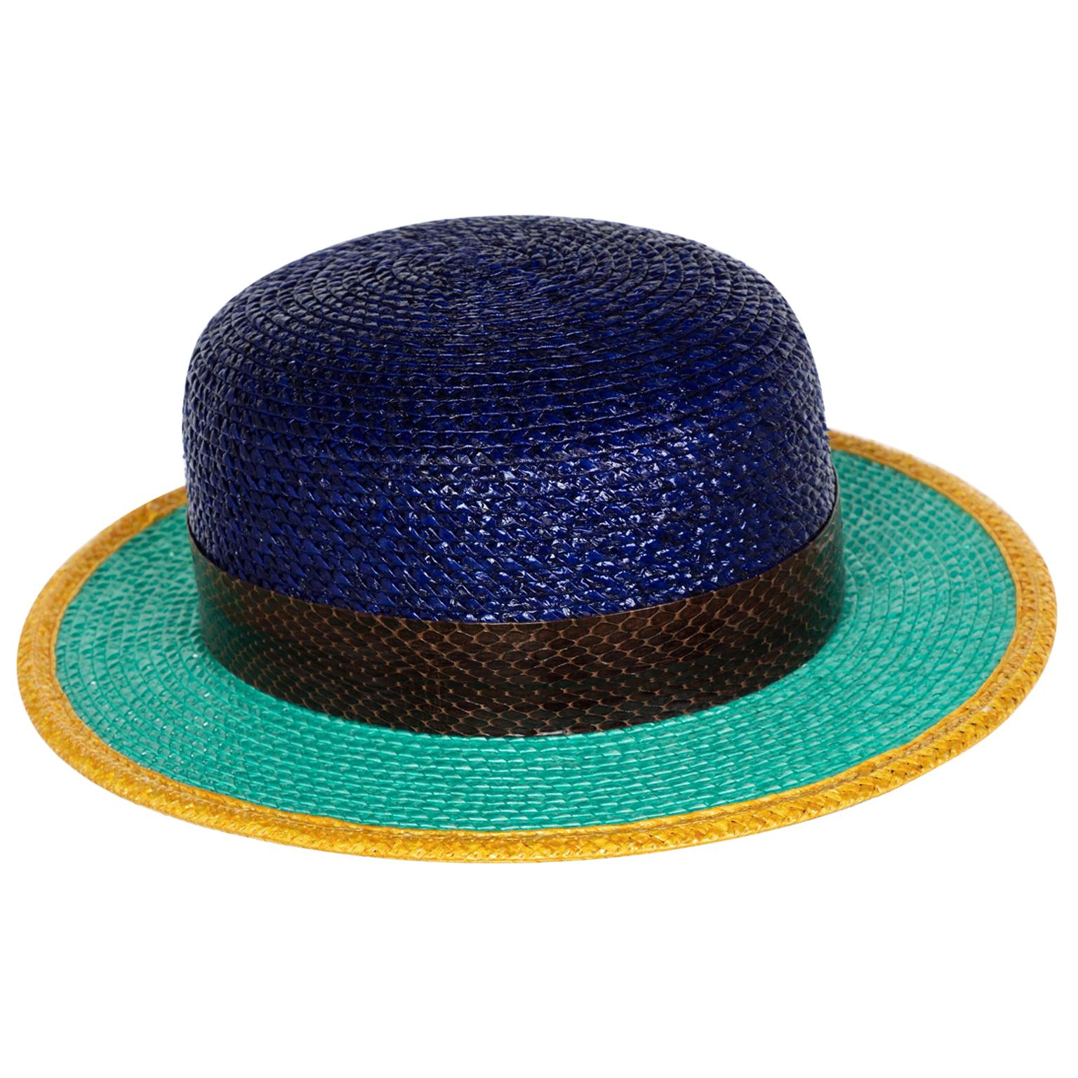 Yves Saint Laurent Glossy Color Block Snakeskin Trim Bowler Hat YSL, 1990s