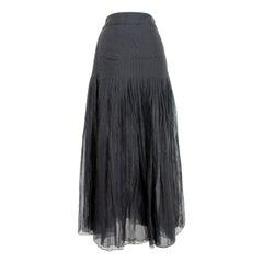 1980s Akira Isogawa Black Silk Maxi Pleated Long Skirt
