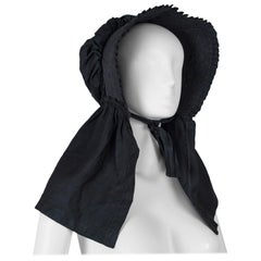 Victorian American Quilted Mourning Poke Bonnet with Sun Apron, 1850s