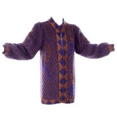 Escada Margaretha Ley Vintage Blue & Copper Mohair Wool Long Cardigan Sweater