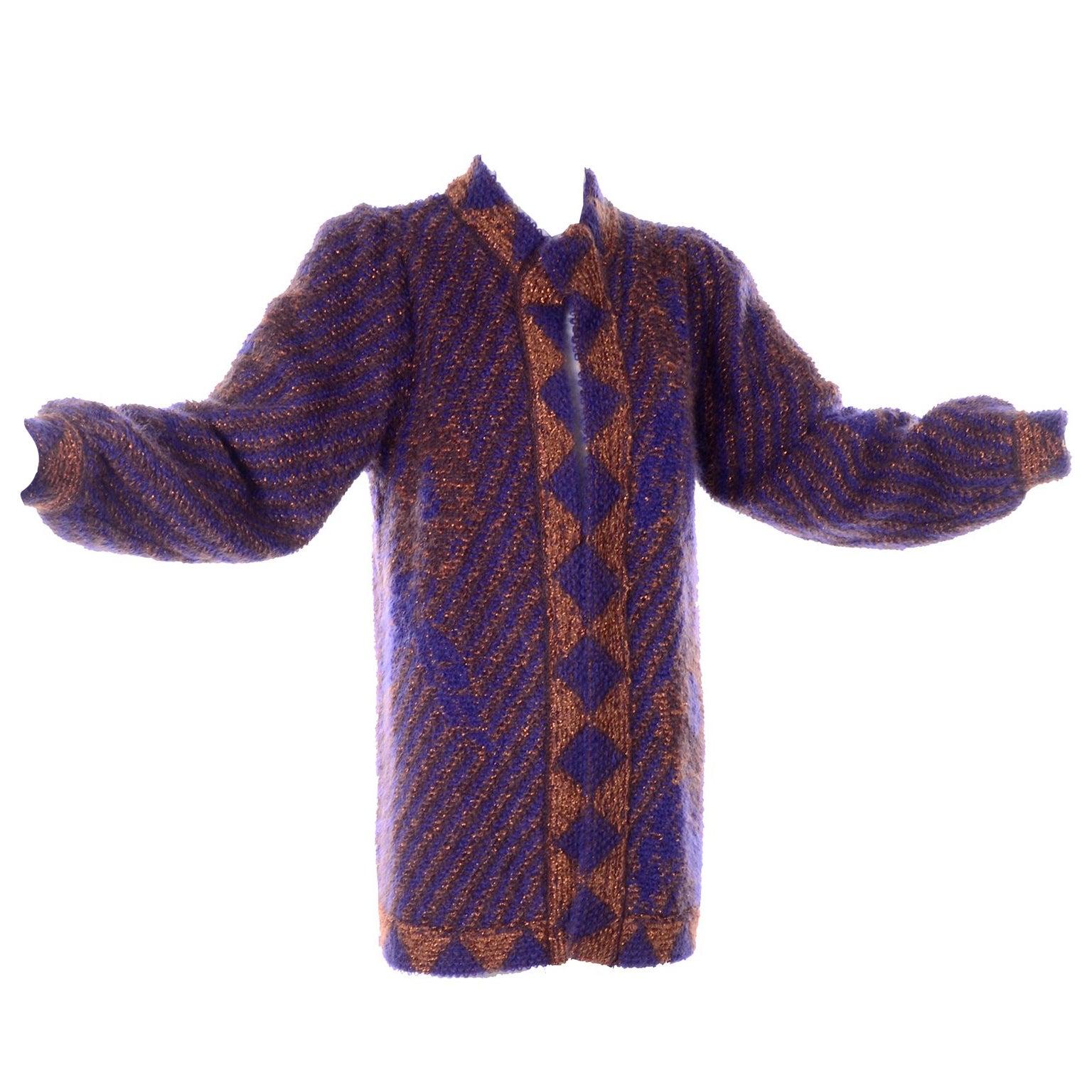 Escada Margaretha Ley Vintage Blue & Copper Mohair Wool Long Cardigan Sweater