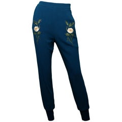 Stella McCartney NWT Blue Joggers W/ Embroidered Flowers Sz IT36/US0