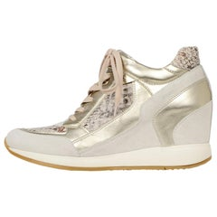 Geox Grey/Silver Leather/Suede Wedge Sneakers W/ Snakeskin Print Sz 9