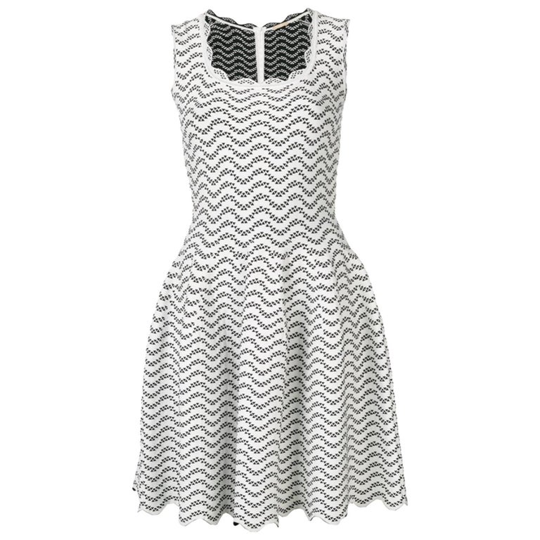 a337d26d976 Azzedine Alaia White and Black Flared Short Dress For Sale at 1stdibs