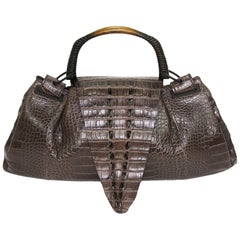 TOM FORD for GUCCI F/W 2002 AD Crocodile Brown Wooden Handle Bag Large Size