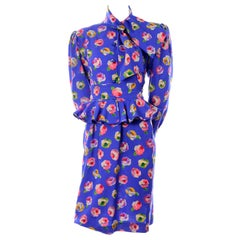 Vintage Ungaro Blue Floral Silk 2 Pc Dress W Peplum Blouse & Slim Skirt W/ Tags