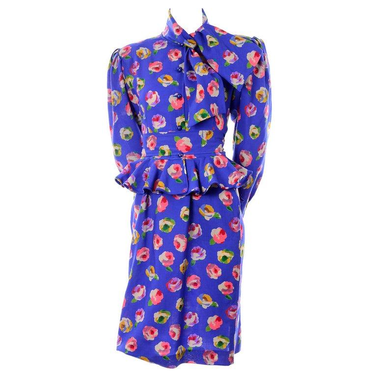 1032687d72a Vintage Ungaro Blue Floral Silk 2 Pc Dress W Peplum Blouse & Slim Skirt W/