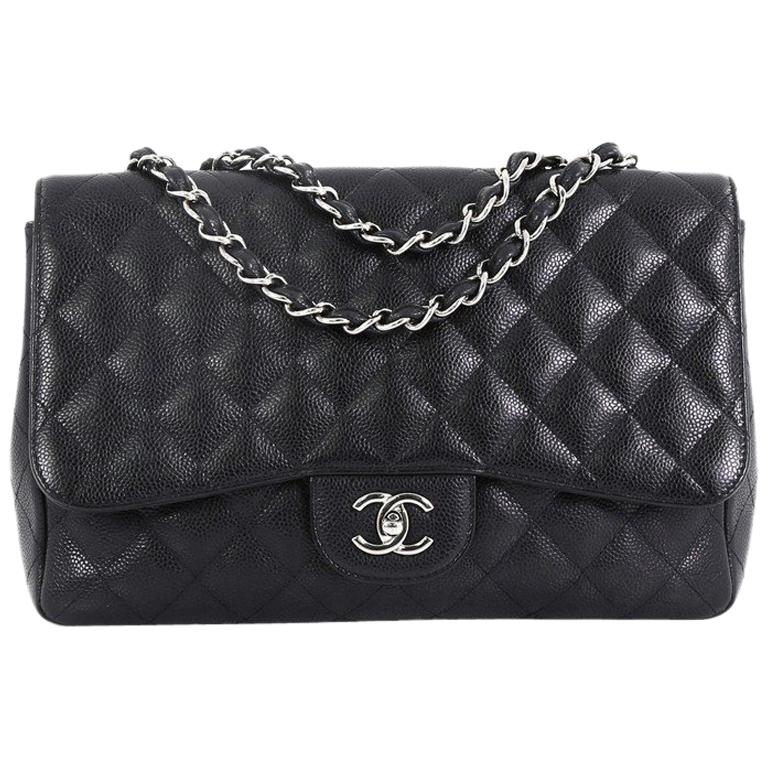 15da7ae83616 Chanel Vintage Classic Single Flap Bag Quilted Caviar Jumbo at 1stdibs