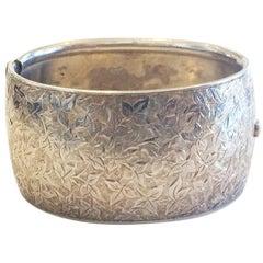 Edwardian Sterling Silver larged etched bracelet