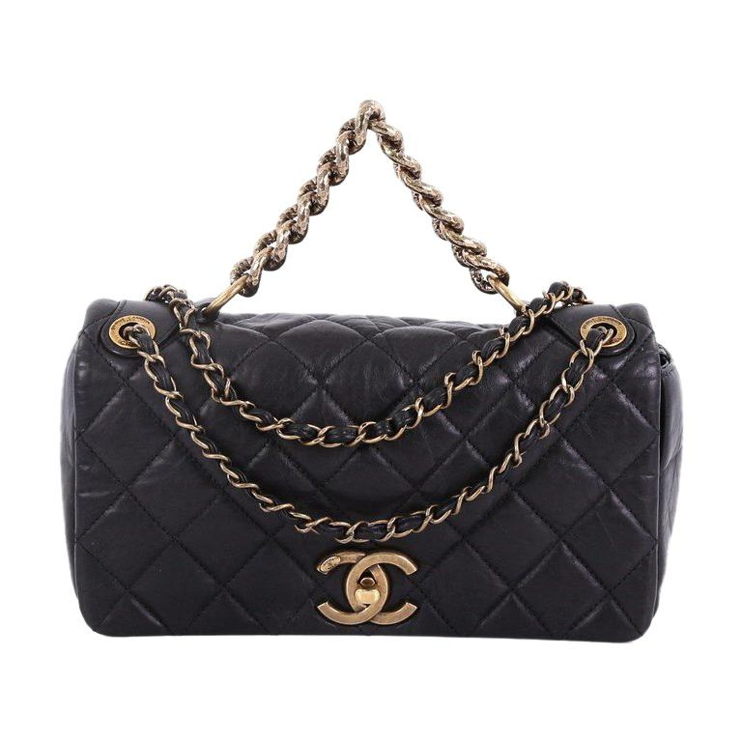 f09ab3480ba76f Chanel Pondichery Flap Bag Quilted Aged Calfskin Small at 1stdibs