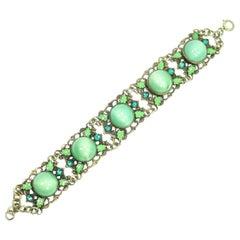 Art Deco Czech Link Bracelet, Green Cats-Eye Chalcedony Glass, 1920s