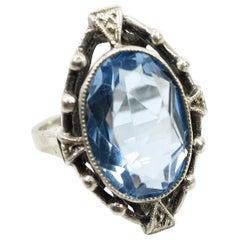 Edwardian 835 Silver & Blue Topaz Ring, Circa 1910
