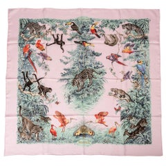 Hermes Scarf Equateur Wash Silk Twill Rose Pale Aqua Taupe 90