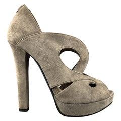 BOTTEGA VENETA Size 7 Grey Suede Patent Leather Piping Peep Toe Sandals