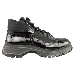 PRADA Size 7 Black Nylon Patent Leather Hiking Boot Sneakers
